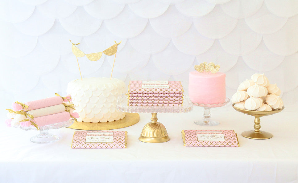 Blush Pink and Gold Dessert Table - Elegant Scallop Personalized Candy Bar Wrappers - Favors- Sweet Paper Shop