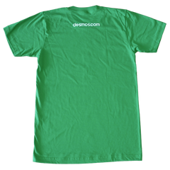 "Back of the green crewneck shirt featuring a small ""desmos.com"" below the neck"