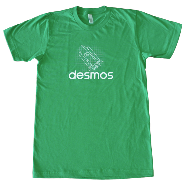 Front of green crew neck shirt featuring an image of a rocket ship graph above the Desmos logo