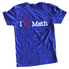 Back of purple v-neck with I <3 Math centered