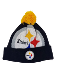 Pittsburgh Steelers Pom Beanie Winter Headwear Black Hat New Era NFL Football