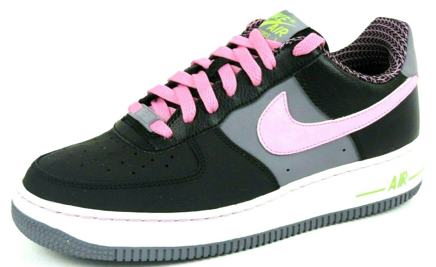 Nike Air Force 1 GS 314219 006 Girls Shoes Womens Leather Black Sneakers Casual