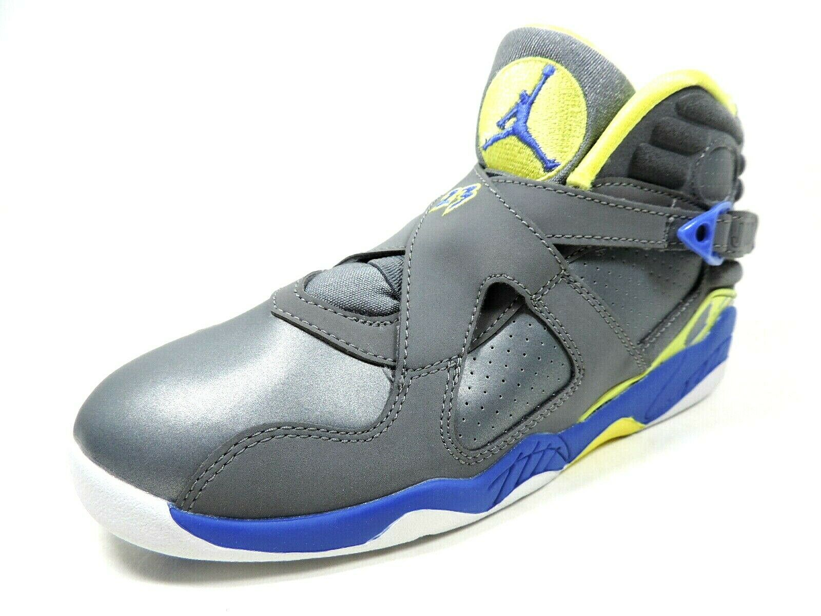 Jordan 8 Retro (PS) Basketball Girls Shoes Leather 580529 037 Cool Grey/Yellow