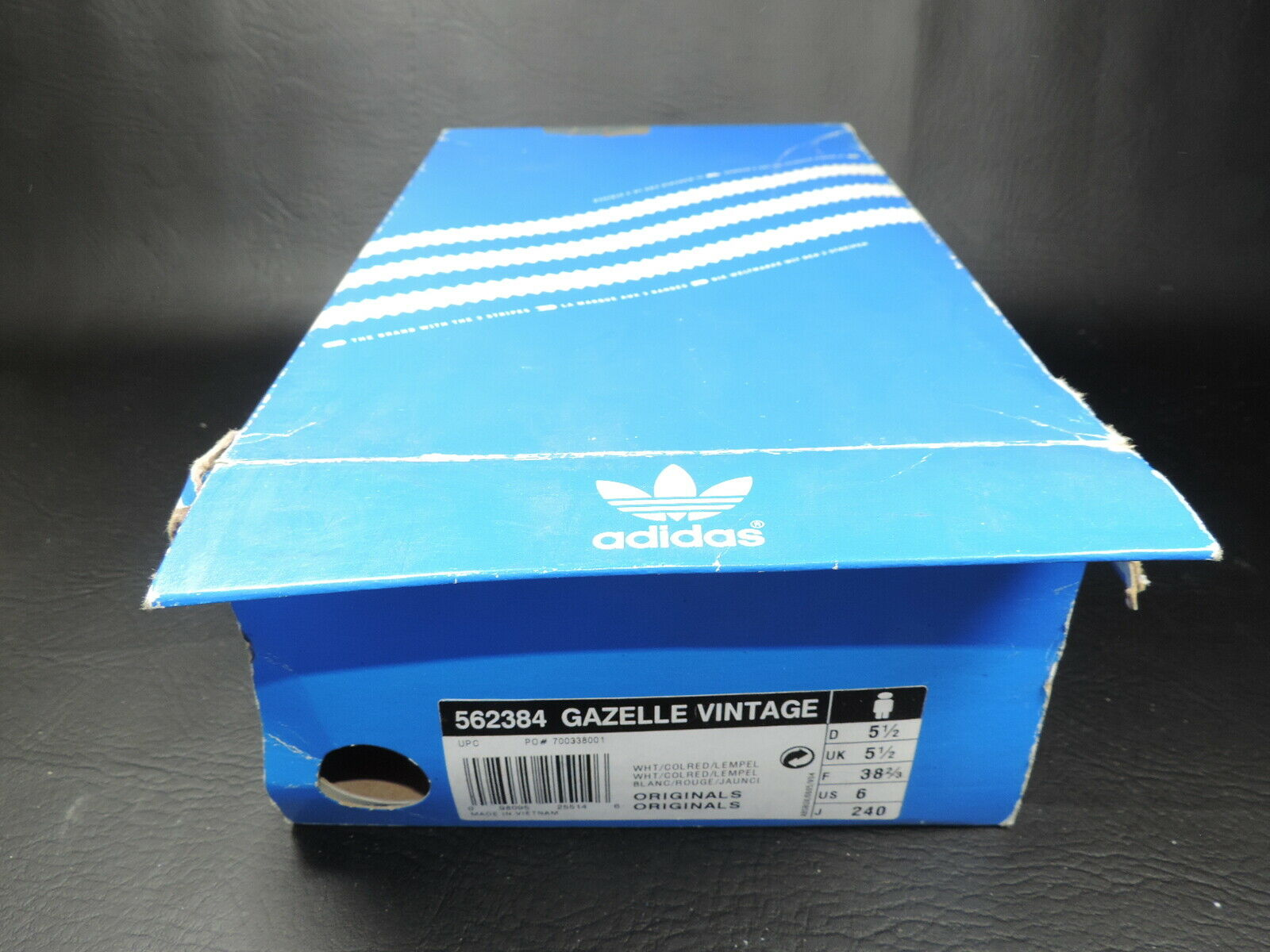 Adidas Boys Shoes 562384 Gazelle Vintage Originals Sneakers Retro Wht 3 stripes