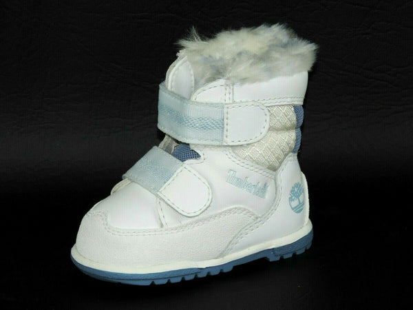 Timberland Infants Nouveaux NE 12849 White Hat Winter Toddlers Boots Leather DS