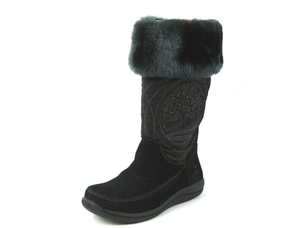 Timberland Hollyberry TL Pull-On 33705 Black Girls Boots Winter Snow Suede DS