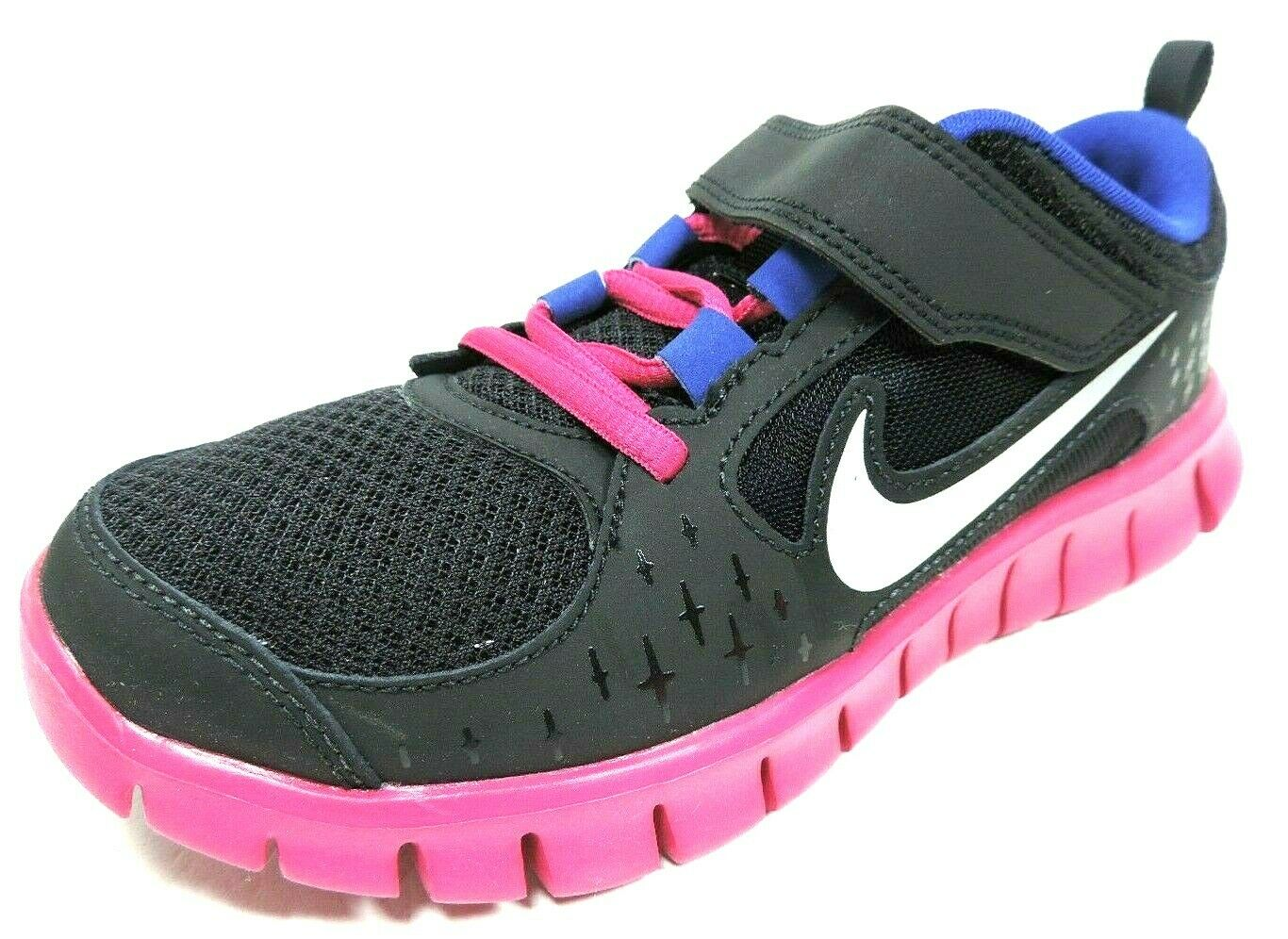 Nike Free Run 3 PSV 512100 004 Little Girls Shoes Running Black Mesh Black Pink