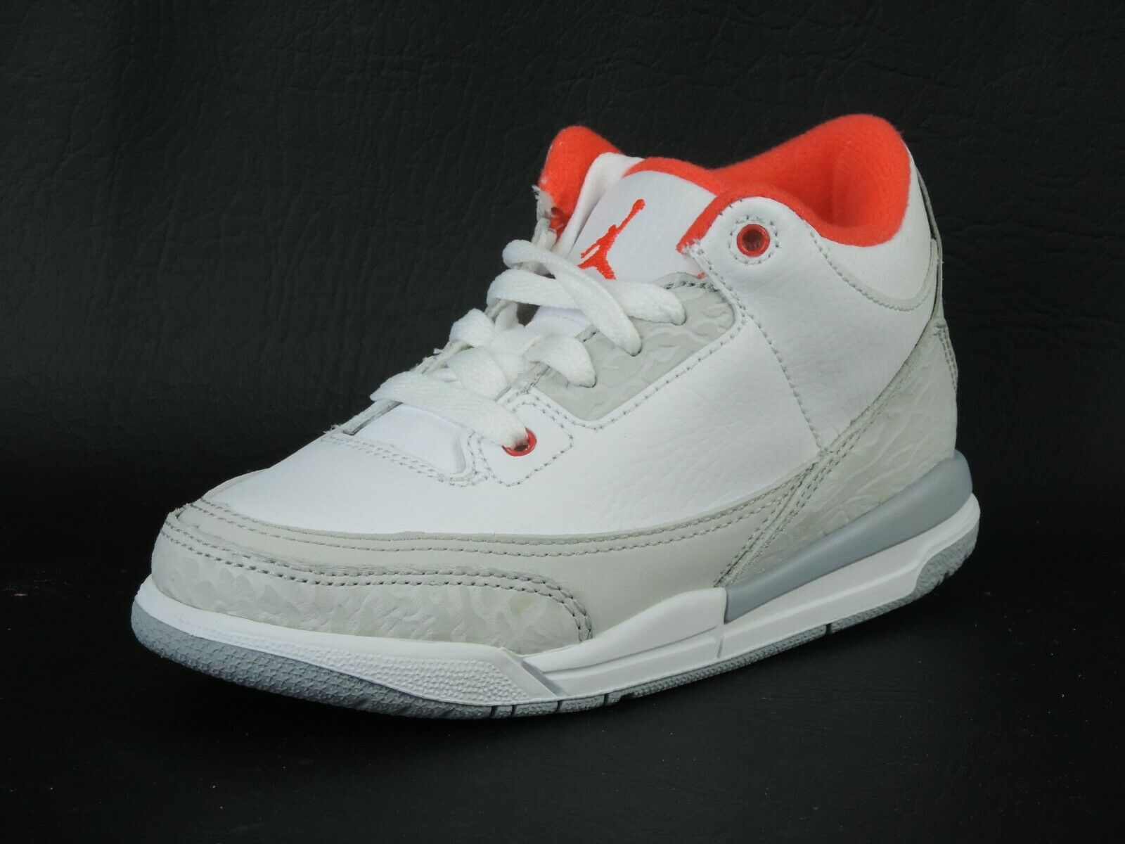 Nike Girls Air Jordan 3 Retro PS 441141 101 White Leather Basketball Vintage DS