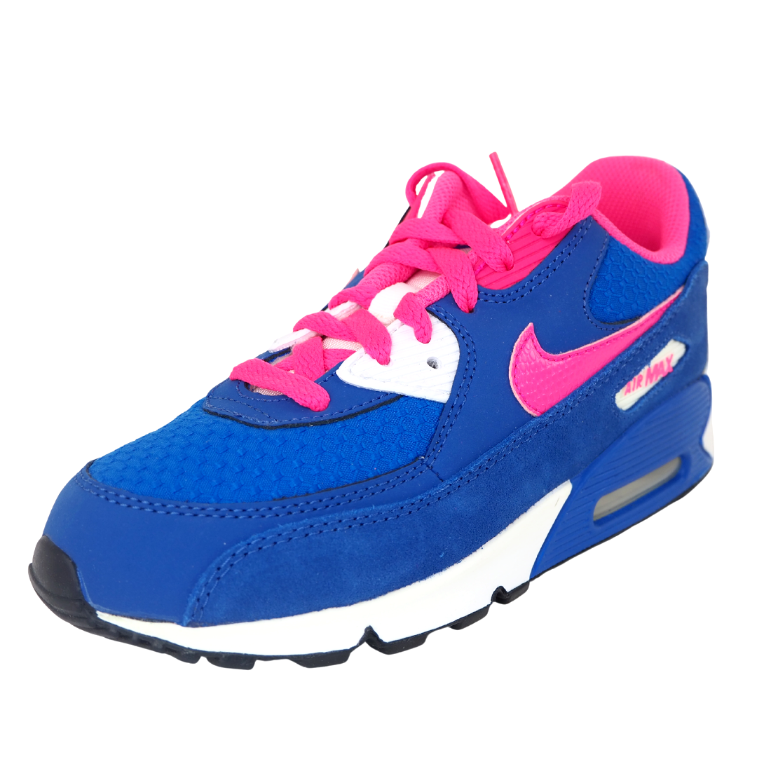 Nike Air Max 90 2007 PS Pink Blue Leather 345018 121 Little Kids Girls Shoes DS