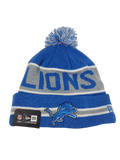 New Era Detroit Lions Logo Football Beanie Cap Hat Rolled Cuff Blue Pom Winter