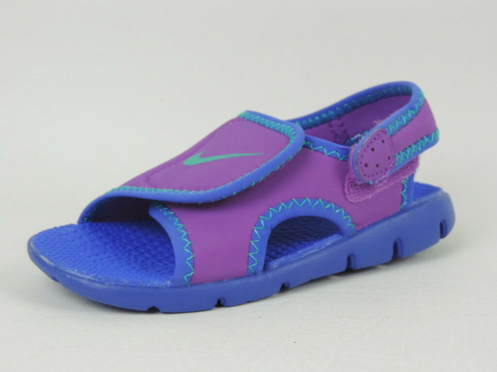 Nike Sunray Adjust 4 Toddlers Sandal Girls 386521 001 Black Purple Suede Beach