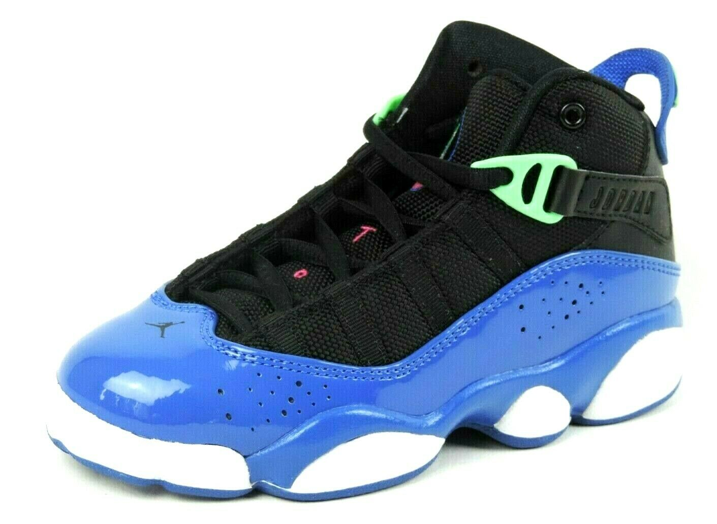 Nike Air Jordan 6 Rings 323431 039 Girls Shoes Basketball Retro Black Blue Vntg