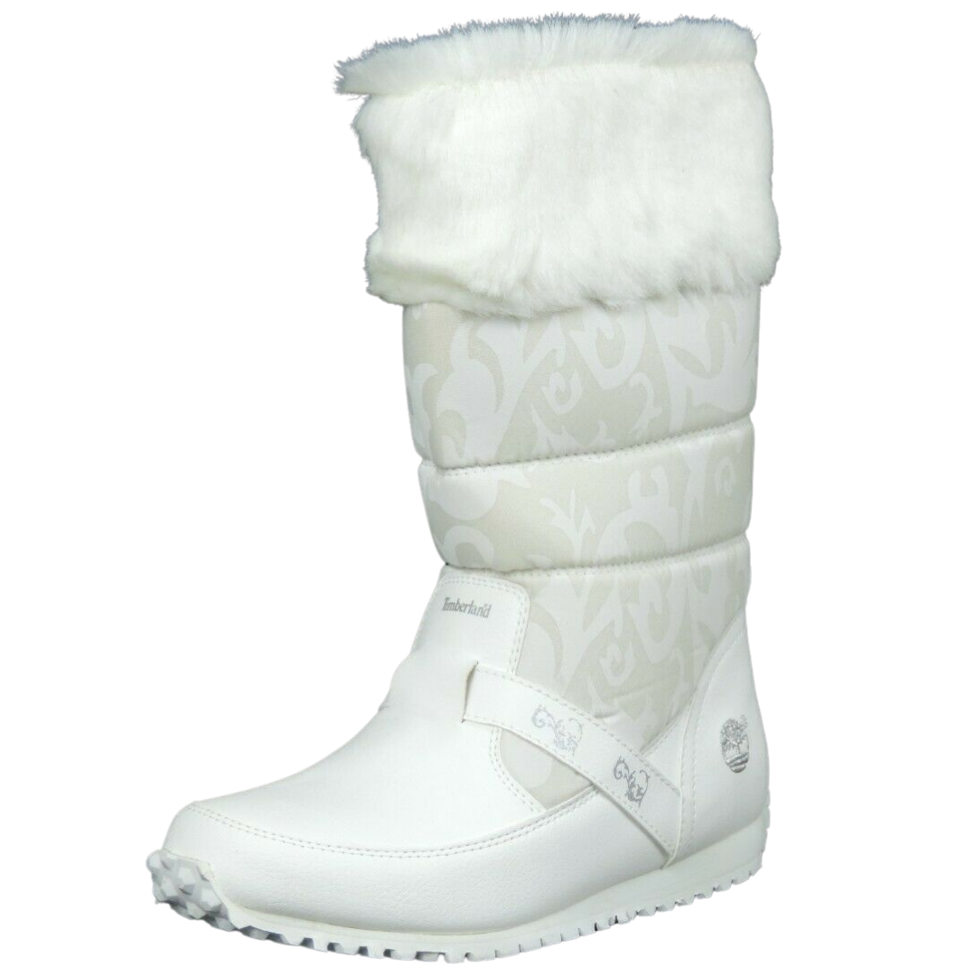 Timberland Boot Free Style White Leather Little Girls 25701 Winter Dead Stock