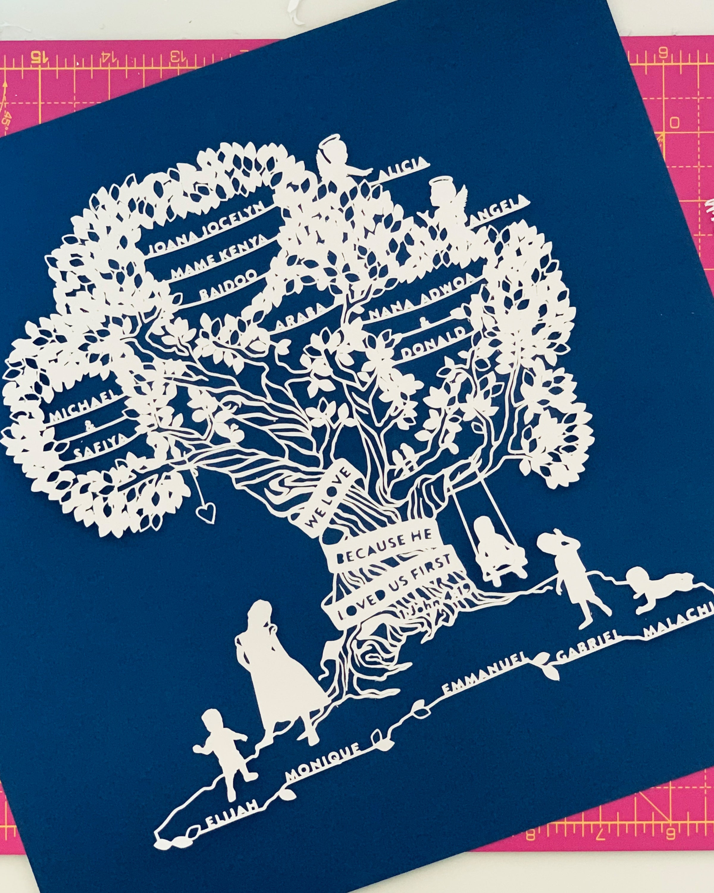 Personalised Paper Cut Family Genealogy Tree With Silhouettes