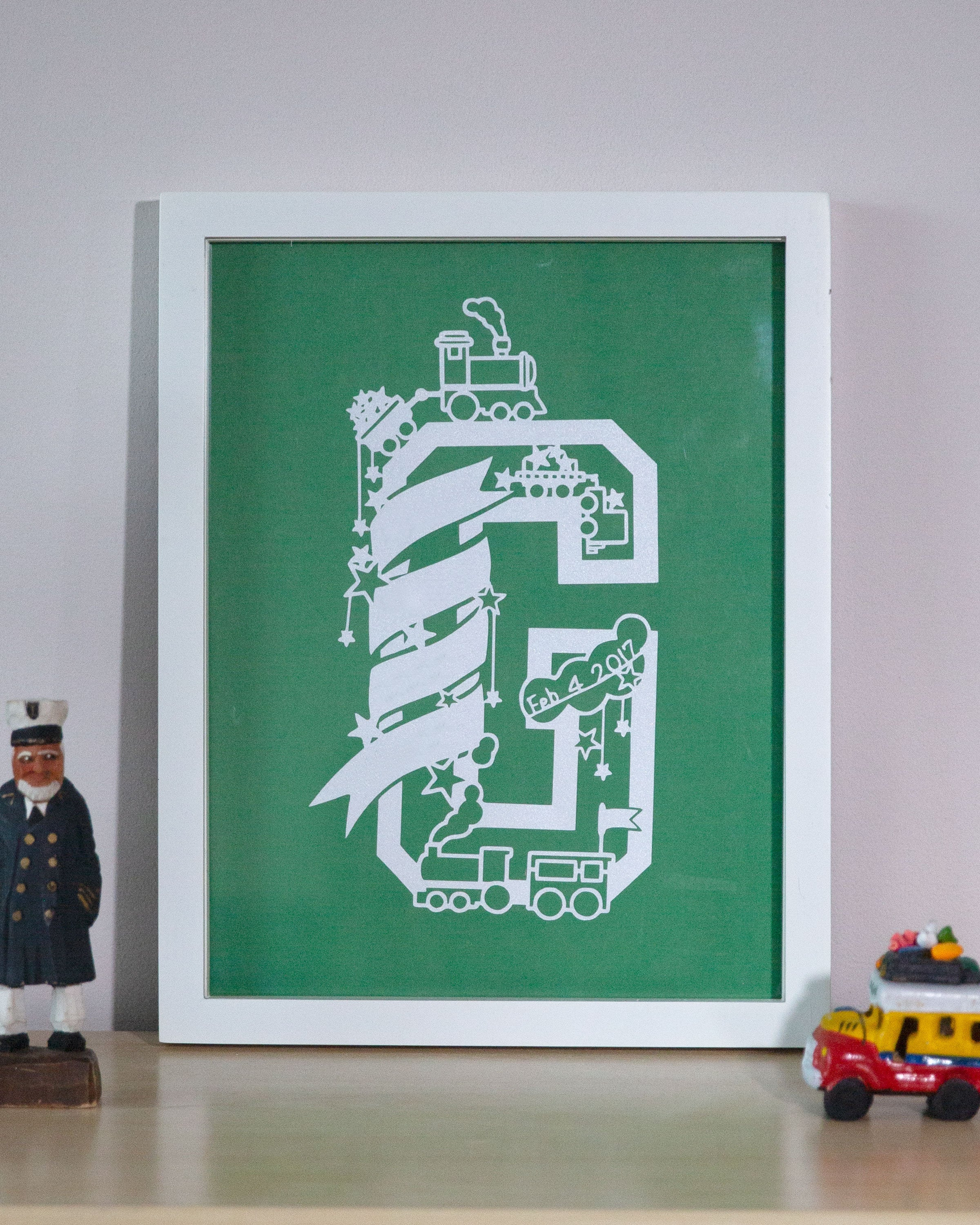 Personalised First Name Initial Wall Art - Train Theme