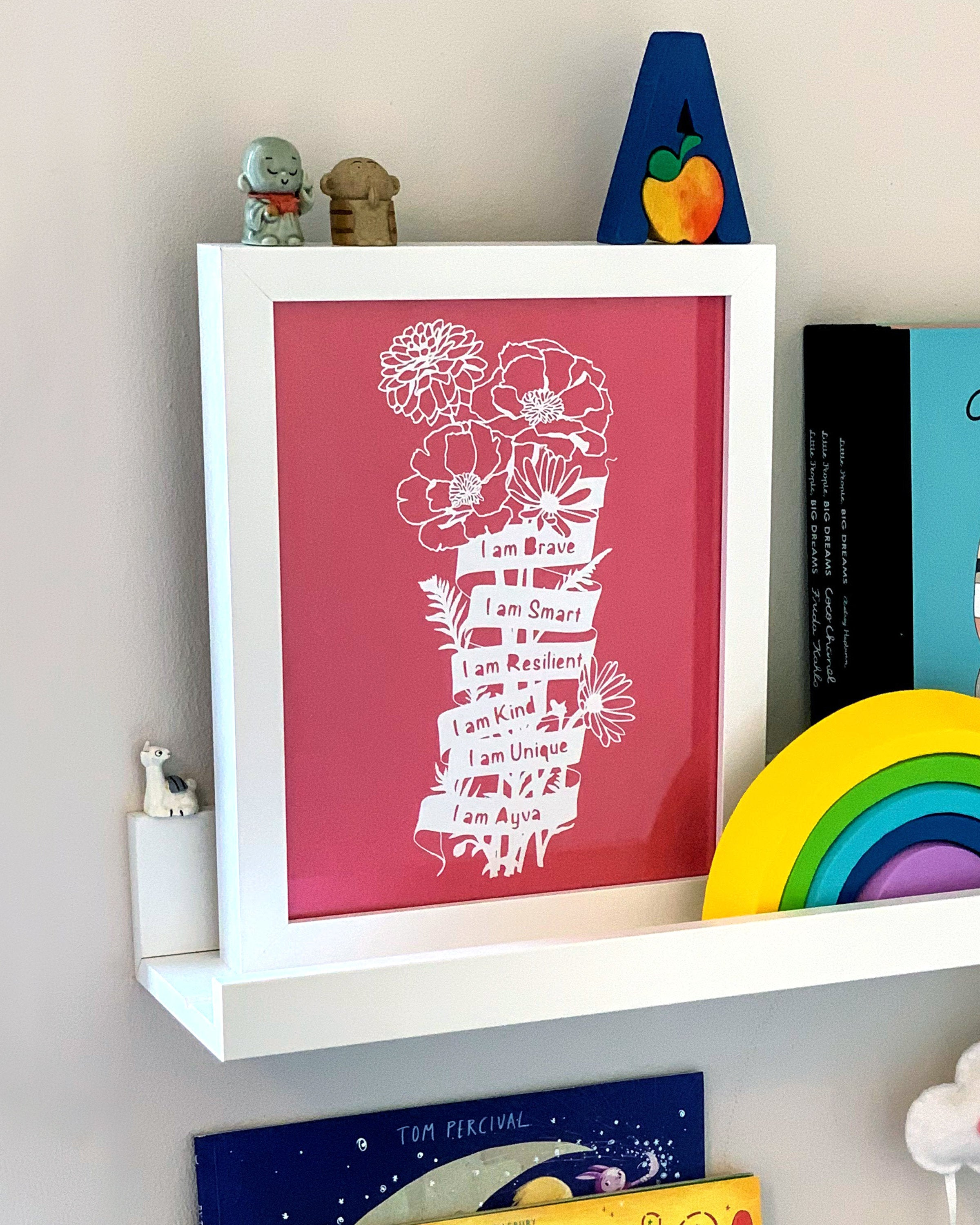 'I Am Brave, I Am Strong...' Personalised Affirmation Flowers Paper Cut