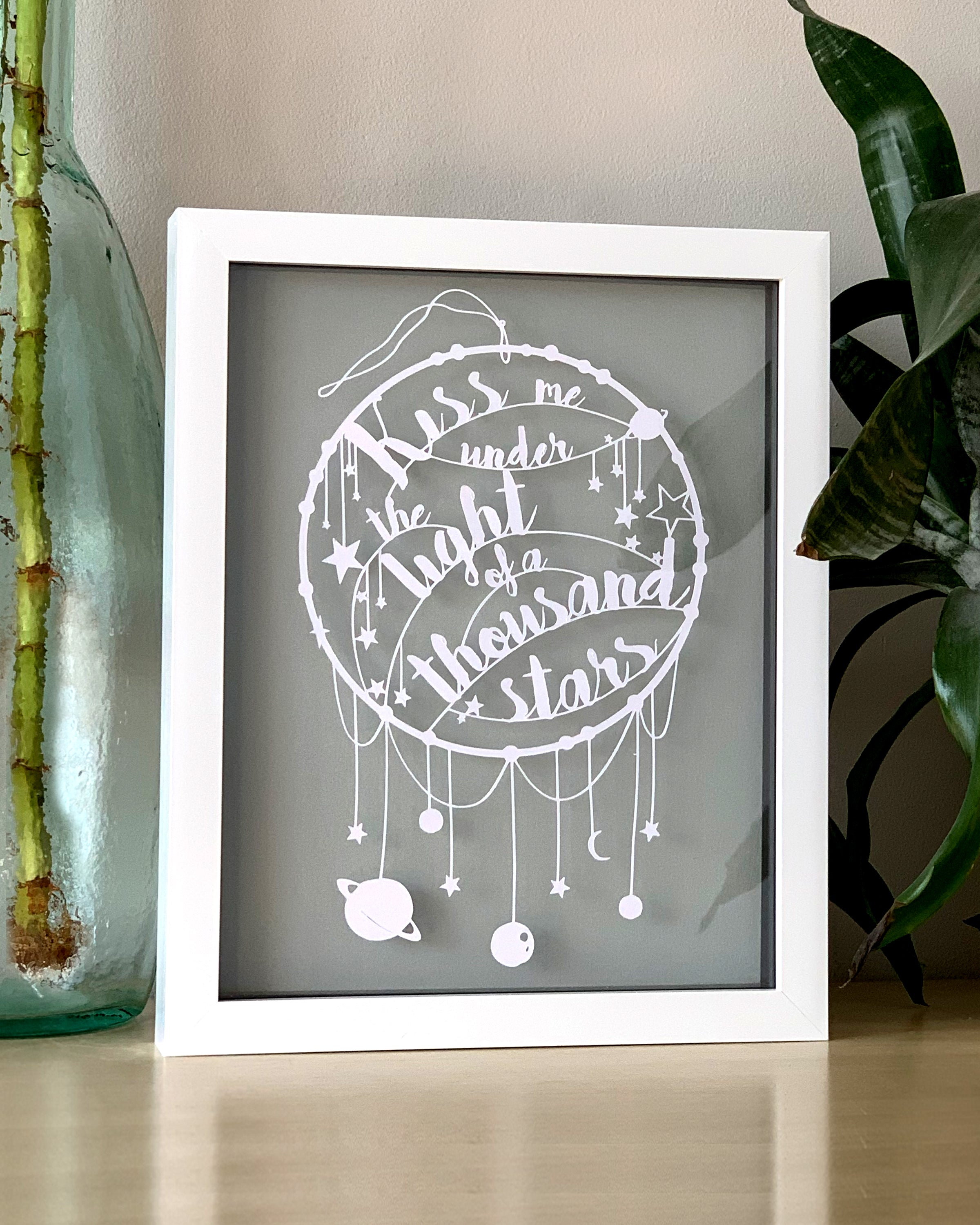 'Kiss Me Under The Light Of A Thousand Stars' Love Quote Paper Cut