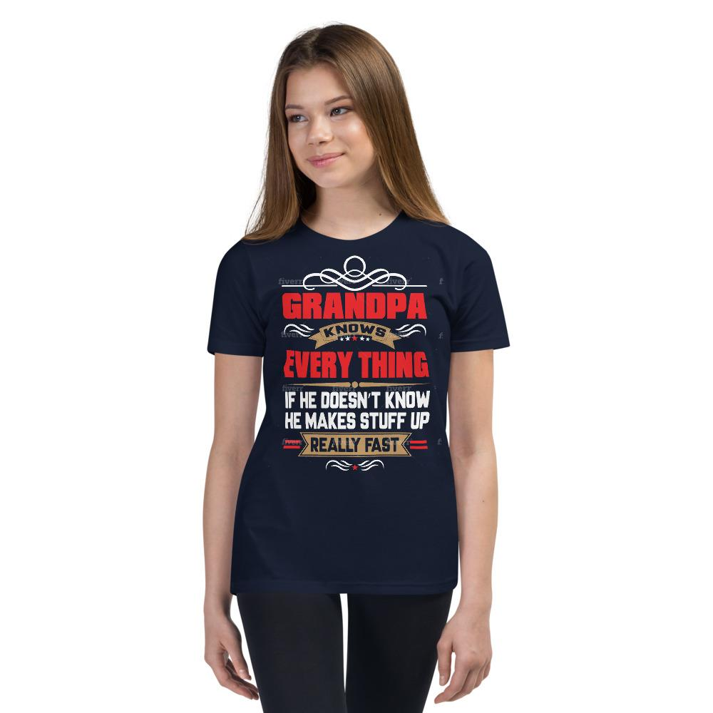 Grandpa Knows Everything - Youth Short Sleeve T-Shirt Supa Tees