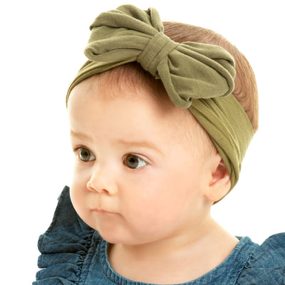 Rolled Bow on Nylon Headwrap SAGE 41