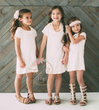 Cotton Lace Cream Tunic Dress - Think Pink Bows - 5