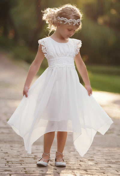 Eleonora Off White flower Girl Dress