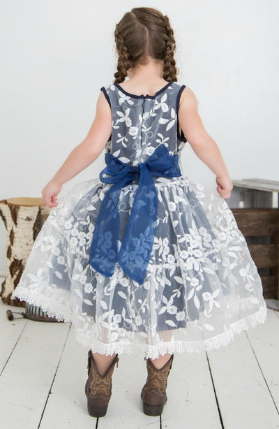 Piper Embroidered Organza Navy Dress