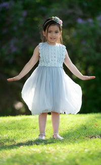 Analeah Flower Girl Dress - Grey/Blue