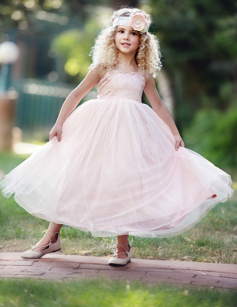 Everly Flower Girl Dress Blush Pink Think Pink Bows