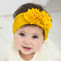 Duo Flower Nylon Headwrap Mustard 36