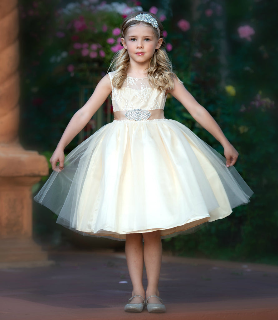 4981f645767 Alana Flower Girl Champagne – Think Pink Bows