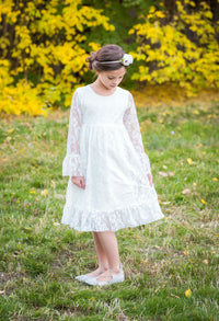 Isabella Flower Girl Lace Dress - White