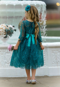 Versailles Flower Girl Dress Hunter Green