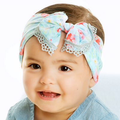 Lace Trim Nylon Print Headwraps P38