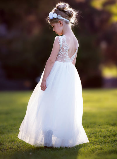 Tania White Flower Girl Dress