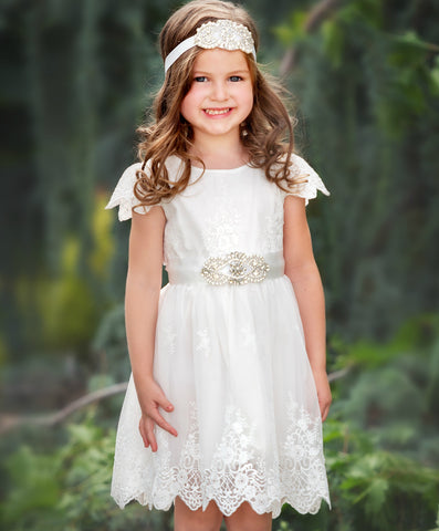 Kylie Flower Girl Off White Dress