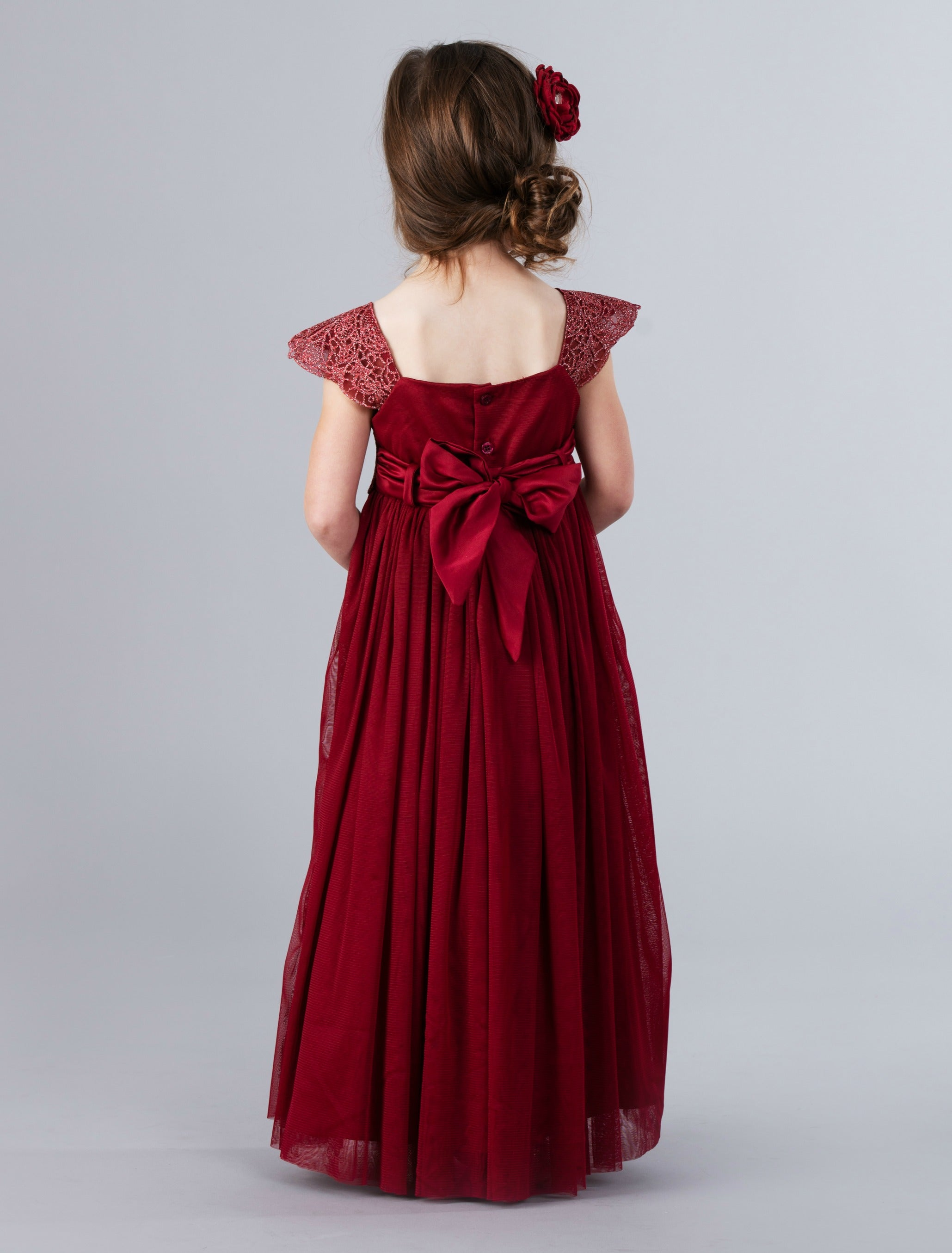 d50f4f920aad7 Georgia Belle Flower Girl Dress - Burgundy – Think Pink Bows
