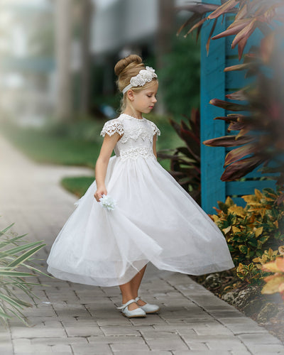 Luciana Long Cap Sleeve Lace Flower Girl Dress Off White