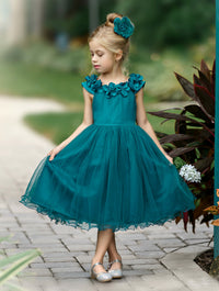Fiona Teal Flower Girl Dress