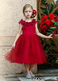 Fiona Wine Flower Girl Dress