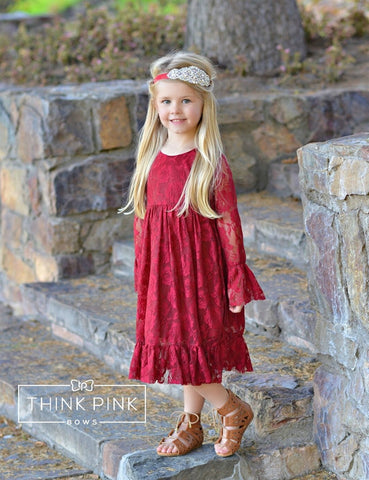 Charly Flower Girl Lace Dress - Burgundy - Think Pink Bows - 1