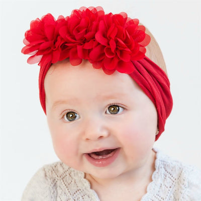 Flower Trio Nylon Headwrap RED 24