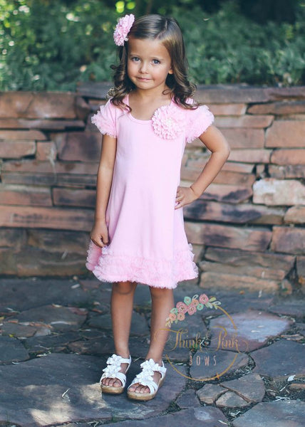 Soft Pink Sophia Dress - Think Pink Bows - 1