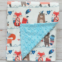Fox Beaver Soft Baby Blanket & Headband