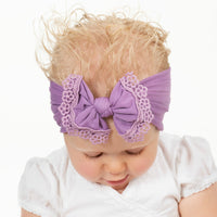 Lace Trim Nylon Headwrap Deep Purple 14