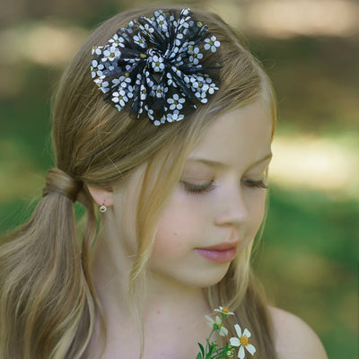 Daisy Tulle  Bow Headband BLACK