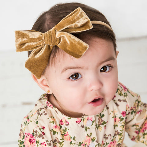 "Luxe Velvet 5"" Bow on Skinny Nylon Headband 26 Colors Available"