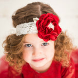 Diana Red Flower Lace Headband