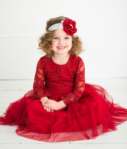 Madeline Flower Girl Lace Long Sleeve Dress - Red