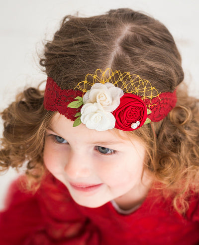 Red Beauty Flower Lace Headband