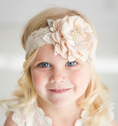 Diana Ivory Flower Lace Headband